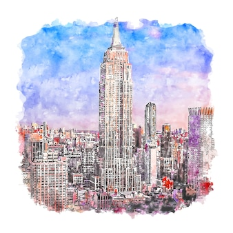 Empire state building new york aquarell skizze hand gezeichnete illustration