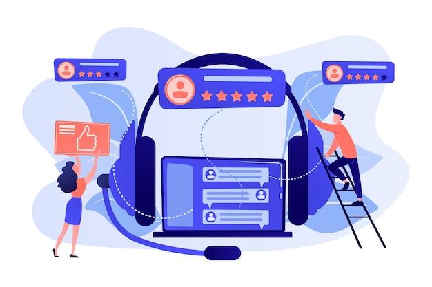 Endbenutzer mit lupe finden informationen im laptop mit headset. kunden-self-service, e-support-system, elektronisches kunden-support-konzept.