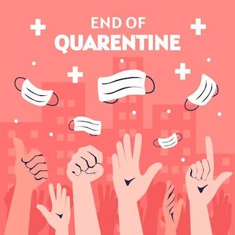Ende der quarantäne mit händen und medizinischen masken