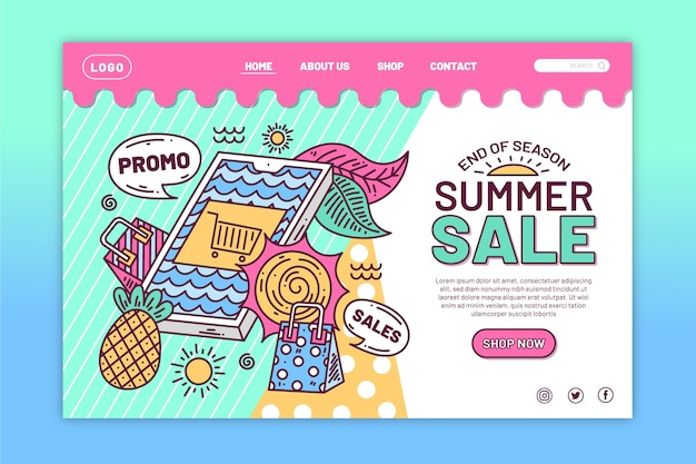 Ende der saison sommer sale landing page thema