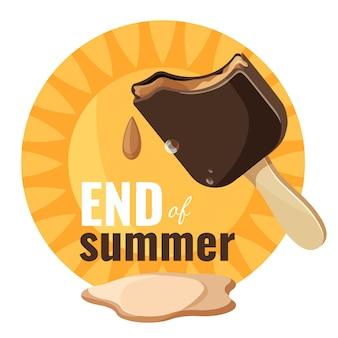 Ende des sommers schmelzendes eis