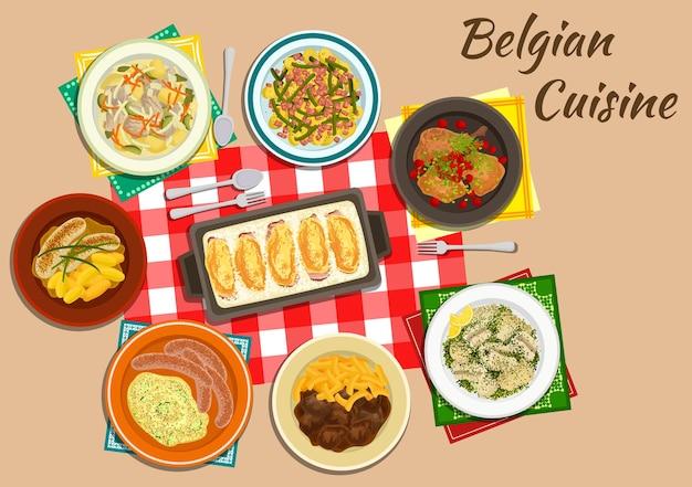 Endivienbrötchen der belgischen küche mit schinken und käse, flache ikone, serviert mit milchwürsten Premium Vektoren