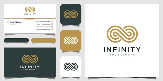 Endless infinity loop mit strichgrafik-symbol, konzeptionelles special. visitenkarte
