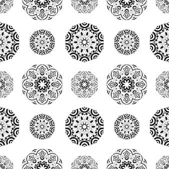 Endlose textur mit stilisiertem gemustertem mandala im indischen stil.
