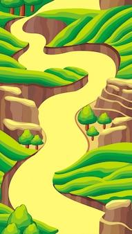 Endlose vertikale landschaft des karikaturphantasievektors für spielhintergrund