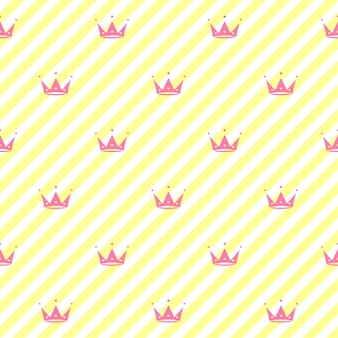 Endloser hintergrund mit kronen herzen diademe streifen niedlicher romantischer rosa vektorhintergrund lol überraschungsstil dekor für kindergeburtstag mädchen party geschenkverpackung rosa hintergrund vektor