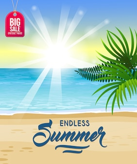 Endloser sommer, großes verkaufsjahreszeitplakat mit ozean, tropischer strand
