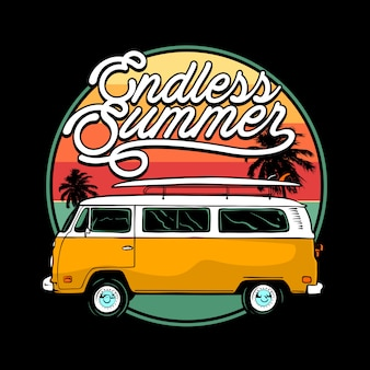 Endloser sommer mit kombi-illustration