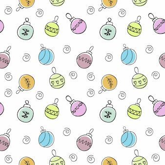 Endloses nahtloses muster mit mehrfarbigen christbaumkugeln für neujahr und weihnachten. kinderhandschrift für den urlaub. tapeten für textilien, decken, verpackungspapier.