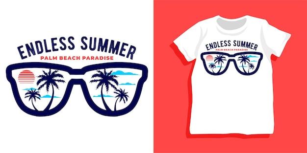 Endloses sommer-t-shirt-design Premium Vektoren