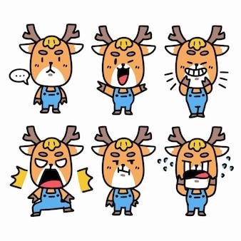 Energetic funny little deer cubillustration aufkleber set
