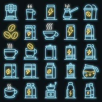 Energetische getränkesymbole gesetzt. umrisse von energetischen getränkevektorsymbolen neonfarbe auf schwarz