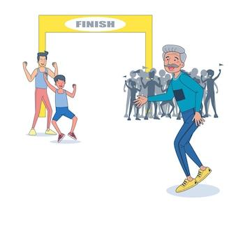 Energetischer älterer mann, der marathon läuft.
