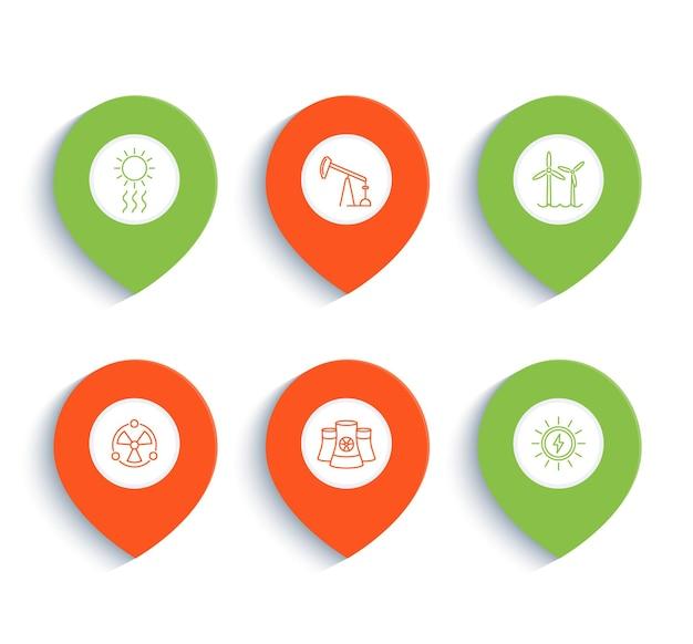 Energie, energetik, elektroindustrie, lineare symbole der energieerzeugung auf markierungen, vektorillustration