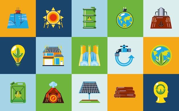 Energie erneuerbare ökologie energiequellen, kollektorplatten und energieerzeugungsikonen illustration