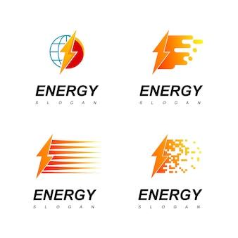 Energie-logo-set mit elektrischem symbol
