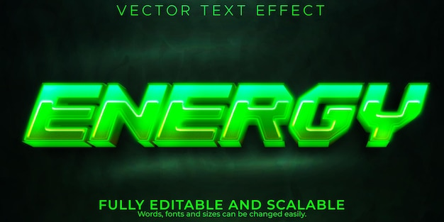 Energie-neon-texteffekt, editierbarer lazer und gaming-textstil