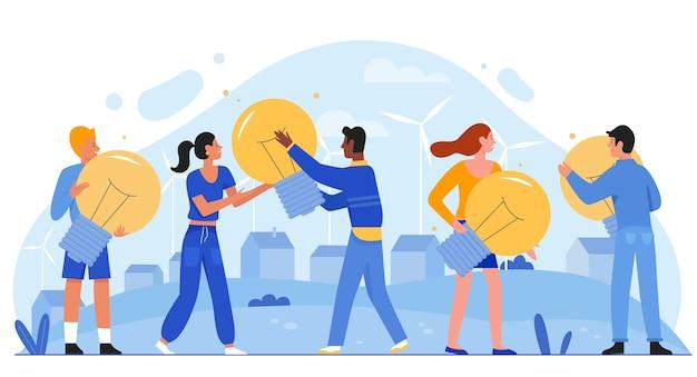 Energie sparen öko-konzept. menschen, die glühbirnen in händen halten, die ökologie retten. freundliche umwelt ökosysteminnovation