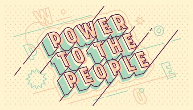 Energie zu den leuten, die typografisches retro design beschriften