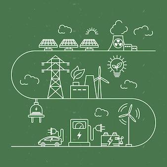 Energiealternativen im grünen hintergrund