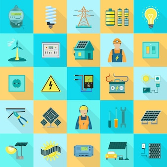 Energieausrüstungs-ikonensatz