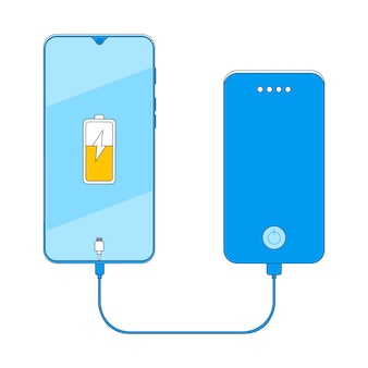 Energiebank, die smartphonevektorillustration auflädt.