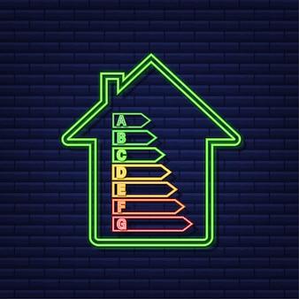 Energieeffizienzdiagramm und hauskonzept. home-symbol vektor. solarenergie. grünes zuhause. neon-symbol. vektorgrafik auf lager. Premium Vektoren