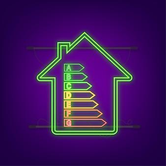 Energieeffizienzdiagramm und hauskonzept. home-symbol vektor. solarenergie. grünes zuhause. neon-symbol. vektorgrafik auf lager.