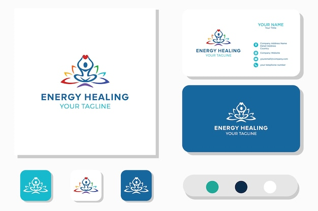 Energieheilungslogo, wellness. symbol und visitenkarte