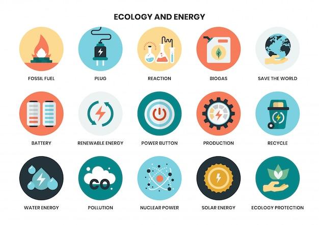 Energieikonen eingestellt für geschäft