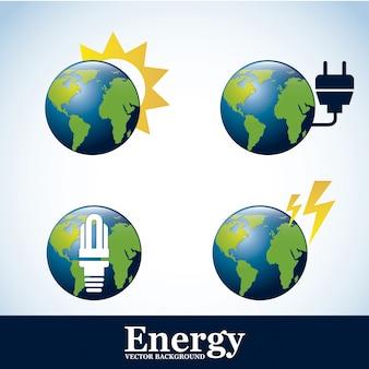 Energieikonen über blauer hintergrundvektorillustration