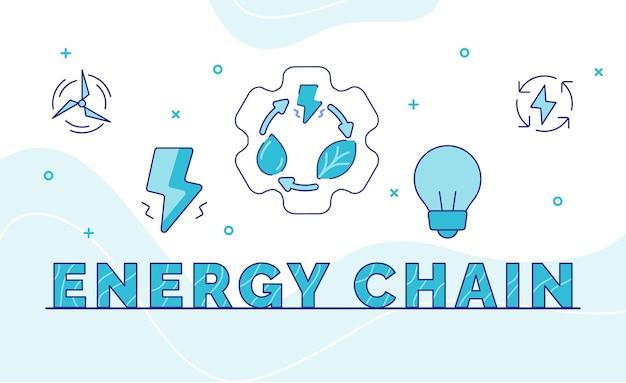Energieketten-typografie-kalligraphie-wortkunst mit umrissstil