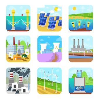 Energiekraft elektrizität energetische kraftwerke fabrik erneuerbare alternative quellen solar, wasserkraft oder wind set illustration auf weißem hintergrund