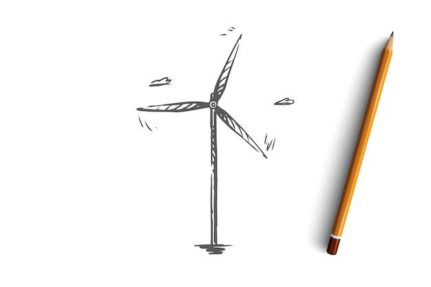 Energiekraftillustration der windkraftanlage