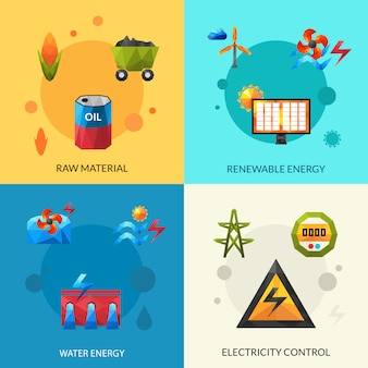 Energieressourcen icons set