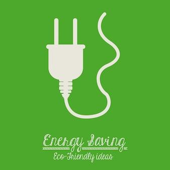 Energiesparendes design über grünem hintergrund