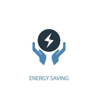 Energiesparkonzept 2 farbiges symbol. einfache blaue elementillustration. energiesparkonzept symboldesign. kann für web- und mobile ui/ux verwendet werden