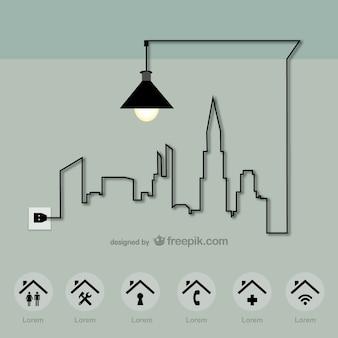 Energiestadt-vektor-vorlage