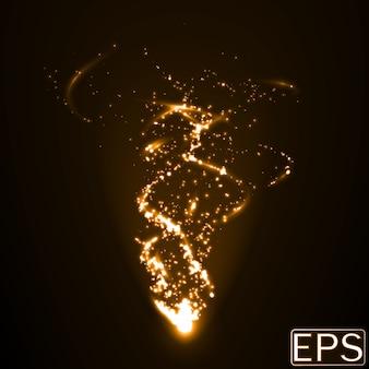 Energiestrahl mit partikeln und glatten energiespuren. goldene farbversion.