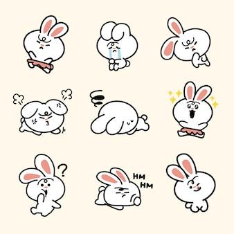 Energisches lebendiges häschen-doodle-illustrationsset