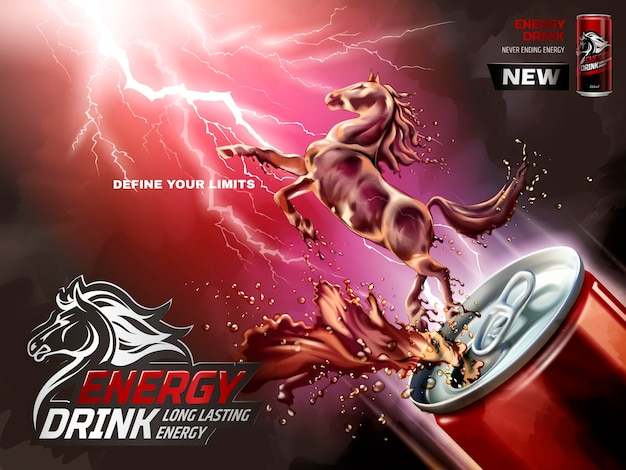Energy-drink-anzeigen, flüssiges pferd sprang aus der dose mit spritzenden getränken in 3d-darstellung, blitzhintergrund