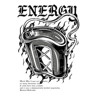 Energy drink schwarzweiss