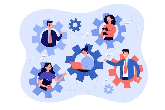 Engagierte teammitglieder, die als flache illustration eines mechanismus arbeiten