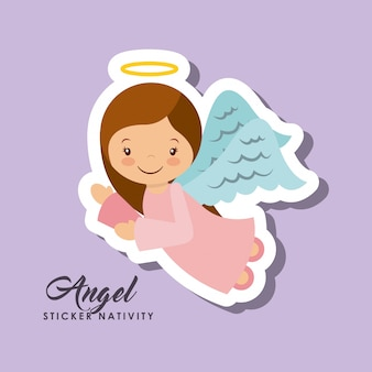 Engel aufkleber krippe