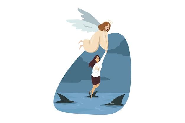 Engel biblischer charakter, der hilft, junge geschäftsfrau manager zu tragen