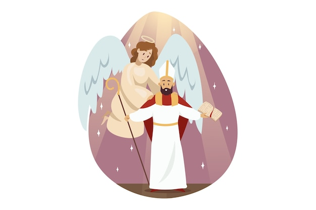 Engel biblischer religiöser charakter, der das halten des alten philosophenkopfes des heiligen isidor unterstützt