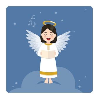 Engel, der auf blauem himmel und sternenhintergrund singt. flache illustration