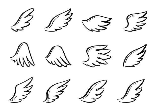 Engel-doodle-flügel-set. hand gezeichneter skizzenartflügel. vogelfeder, engel-konzept-vektor-illustration. bleistiftstrichzeichnung.