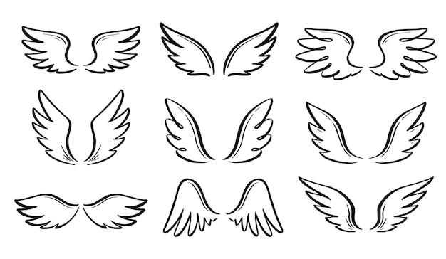 Engel-doodle-flügel-set. hand gezeichneter skizzenartflügel. vogelfeder, engel-konzept-vektor-illustration. bleistiftstrichzeichnung. Premium Vektoren