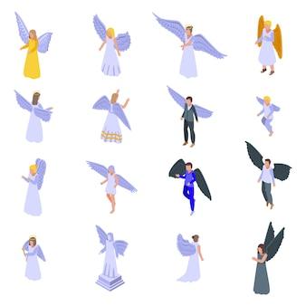 Engel gesetzt. isometrischer satz des engels für webdesign lokalisiert auf weißem hintergrund